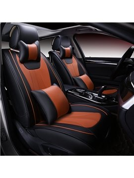 Luxury High-Grade Fashion Black And Orange Color Durable PU Leather Universal Five Car Seat Cover
