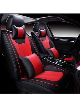 High-Grade Luxury Fashion Red Color Durable PU Leather Universal Five Car Seat Cover