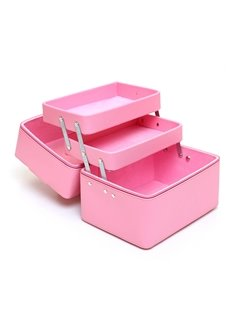Light Pink 3-Layer PU Travel Cosmetic Bags with Zipper