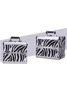 Zebra-Stripe Printed 3-Tier Trays PVC Cosmetic Bags