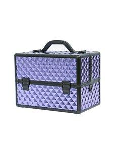 Purple Diamond Pattern Portable 3-Tier Accordion Trays Makeup Case with Shoulder Strap