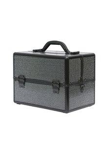 Black Rhinestone Design Portable 3-Tier Accordion Trays Makeup Case with Shoulder Strap