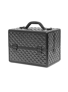 Black Diamond Pattern Portable 3-Tier Accordion Trays Makeup Case with Shoulder Strap