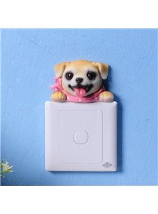 Lovely Resin Cute Dog Shape Design Decorative 3D Wall Switch Stickers