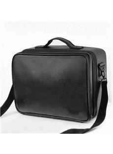 Black PU Professional Travel Makeup Organizer Bag