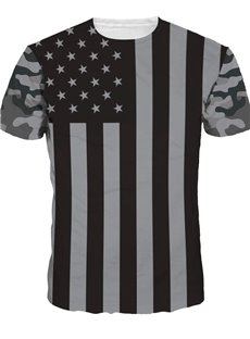 Round Neck Grey Frag of American Pattern 3D Painted T-Shirt
