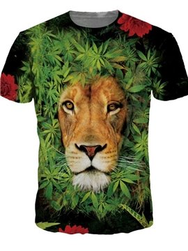 Round Neck Lion in Leaves Pattern Green 3D Painted T-Shirt