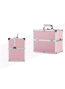 Pink PVC Makeup Cosmetic Jewelry Storage Case Box