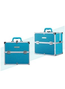 Blue PU Makeup Cosmetic Jewelry Storage Case Box