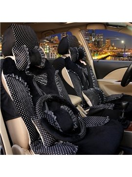 Charming Black Color Princess Lace Bow Design Universal Five Car Seat Cover