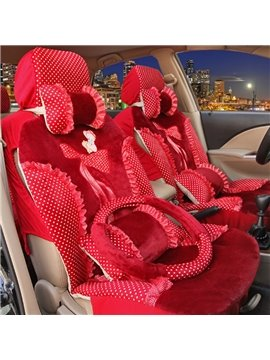 Beautiful Red Color Princess Bow Design Universal Five Car Seat Cover