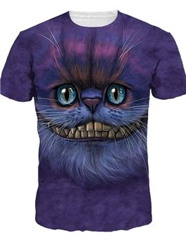 Cute Round Neck Big Mouth Cat Pattern Purple 3D Painted T-Shirt