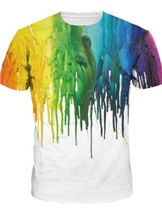 Modest Round Neck Abstract Pattern 3D Painted T-Shirt