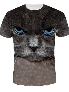 Cute Round Neck Cat Face Pattern 3D Painted T-Shirt