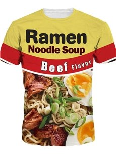 Vivid Round Neck Beef Noodle Pattern 3D Painted T-Shirt