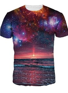 Modest Round Neck Galaxy Pattern 3D Painted T-Shirt