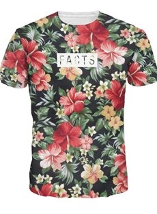 Fashion Round Neck Floral Pattern 3D Painted T-Shirt