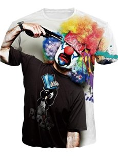Special Round Neck Clown Suicide Pattern 3D Painted T-Shirt