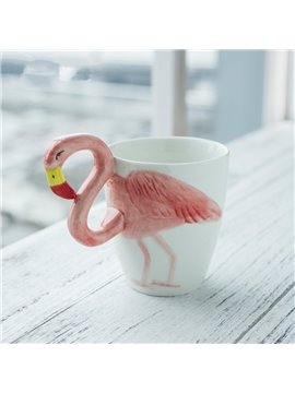 White Ceramic Handmade Flamingo Pattern Modern Style Coffee Mugs