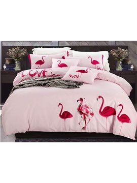 Light Pink Flamingo Pattern 100% Cotton 4-Piece Duvet Cover Sets