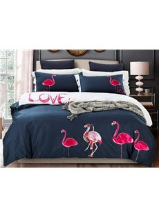 Amazing Flamingo Pattern Cotton 4-Piece Duvet Cover Sets