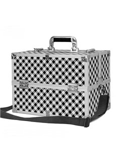 White and Black Stripes Printed  Professional Portable Cosmetic Case