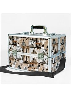 Yellow Stamps Printed PU Professional Portable Cosmetic Case