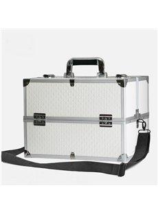 White PU Professional Portable Cosmetic Case