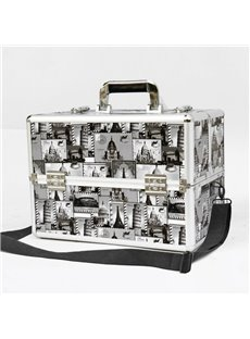 Black and White Stamps Printed Professional Portable Cosmetic Case