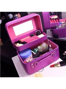 Solid Purple PU Cosmetic Travel Carrying Case with Mirror