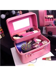 Solid Pink PU Cosmetic Travel Carrying Case with Mirror