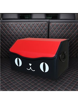Cartoon Smiling Face Pattern High-Grade Leather Material Car Trunk Organizer