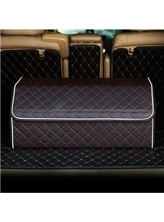 New Long Square Design High Capacity Durable PU Leather Material Car Trunk Organizer