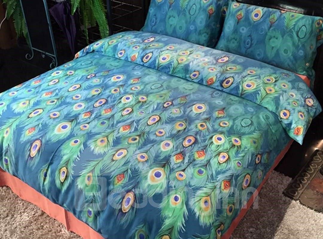Fantastic Peacock Pattern Kids Cotton 4-Piece Duvet Cover