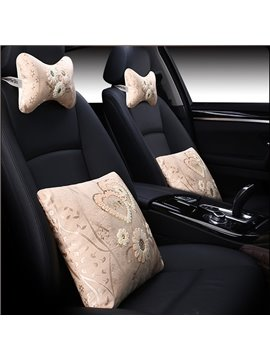 Double Heart-Shaped With Beautiful Floral Design 1-Pair Headrest And 1-Pair Lumbar Car Pillow