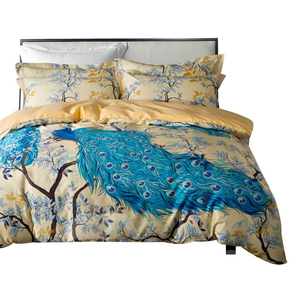 Gorgeous Blue Peacock Print 4-Piece Cotton Duvet Cover Sets beddinginn