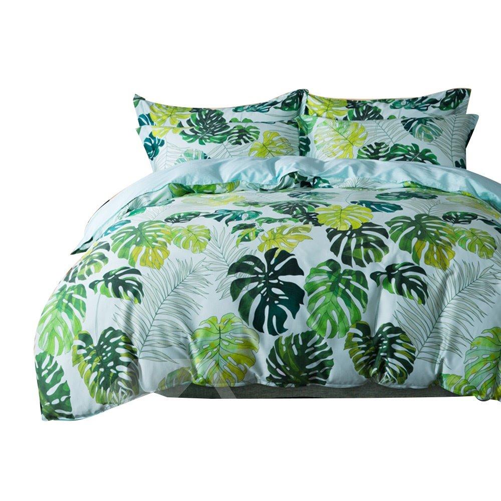 Fresh Green Leaves Print Egyptian Cotton 4 Piece Duvet
