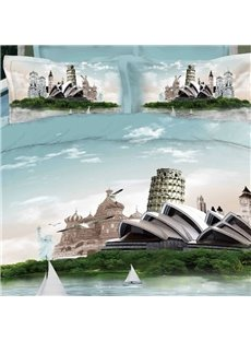 Sydney Opera House Print 3D 100% Cotton Duvet Cover