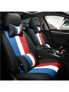 Popular Textured Durable PU Leather Material Design Colorful Bands Pattern Style Universal Five Car Seat Cover