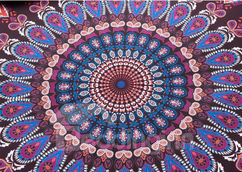 Gorgeous Bohemian Style Purple Print 3-Piece Polyester