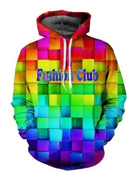 Bright Long Sleeve Colorful Plaid Pattern 3D Painted Hoodie