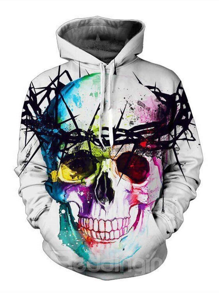 Super Cool Long Sleeve Colorful Skull Pattern 3D Painted
