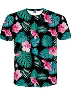 Round Neck Bright Flowers Pattern 3D Painted T-Shirt
