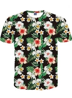Cute Round Floral Pattern 3D Painted T-Shirt