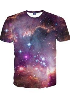 Shining Round Neck Galaxy Pattern 3D Painted T-Shirt