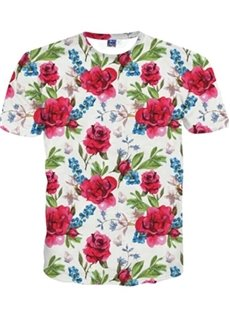 Stylish Round Neck Red Flowers Pattern 3D Painted T-Shirt