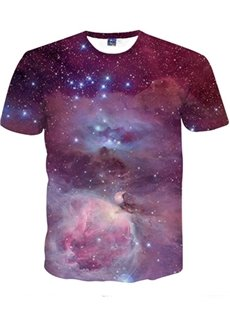 Amazing Round Neck Purple Galaxy Pattern 3D Painted T-Shirt
