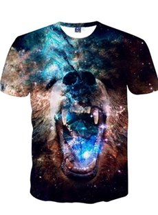 Cool Round Neck Bear Face Pattern 3D Painted T-Shirt
