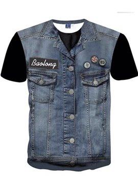 Fashion Round Neck Cowboy Waistcoat Pattern 3D Painted T-Shirt