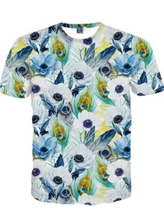 Pretty Round Neck Flower and Peacock Pattern 3D Painted T-Shirt